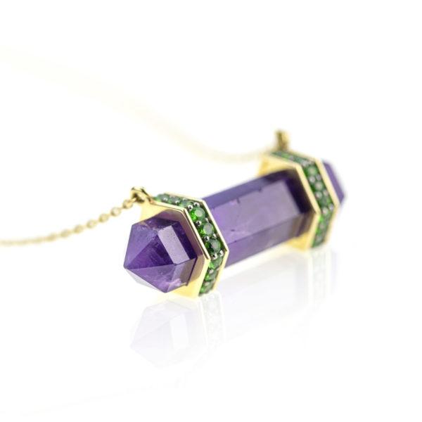 Pendule Amethyste Sertie diamants verts