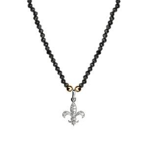collier_perles-noires_fleur_Lys_argent